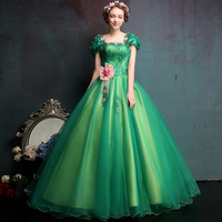 Green Classic Party Prom Formal Dress Pink Flower Appliques Short Sleeve Noble Long Ball Gown Sweet Quinceanera Dresses