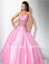 Женское вечернее платье бальное с кристаллами и бисером для