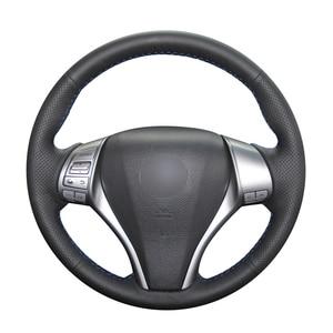 Image 1 - Hand stitched Black PU Artificial Leather Car Steering Wheel Cover for Nissan Teana Altima X Trail Qashqai Tiida Pulsar Navara