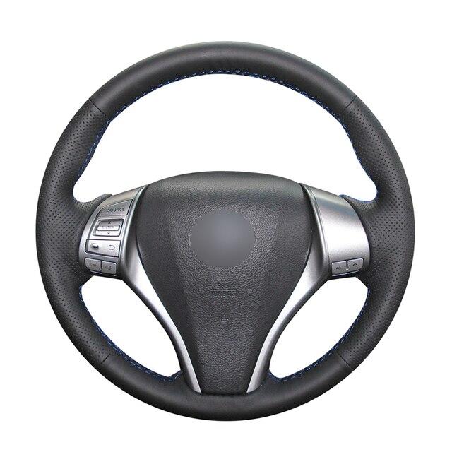 Hand stitched Black PU Artificial Leather Car Steering Wheel Cover for Nissan Teana Altima X Trail Qashqai Tiida Pulsar Navara