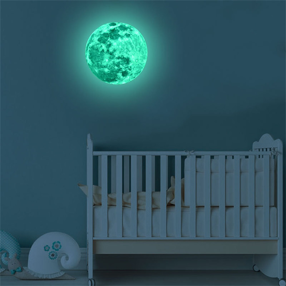 Wholesale 5cm 3D Large Moon Fluorescent Wall Sticker Removable Glow In The Dark Sticker  Home Decoration Accessories