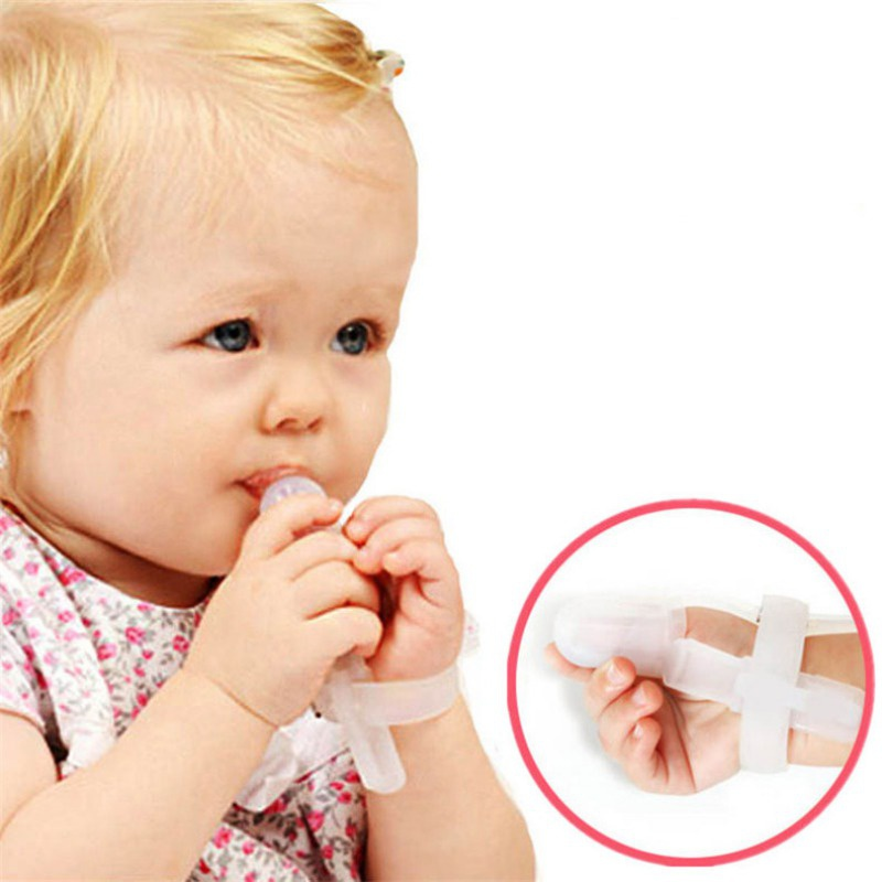 New Baby Nipple Thumb Sucking Stop Finger Guard Treatment Kit To Stop Thumb Sucking Bite Correction Non-Toxic Silicone