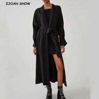 2019 Bohemian Autumn Split Black Maxi Long Kimono Shirt Holiday New Lacing up Sashes Long Cardigan Loose Blouse Tops femme