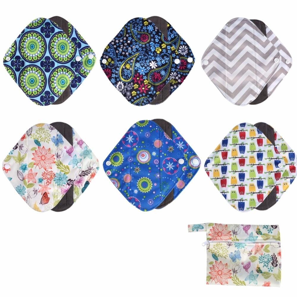 1PC Washable Wet Bag + 6PCs L Size Reusable Bamboo charcoal Cloth Sanitary Menstrual Pads Panty Liner