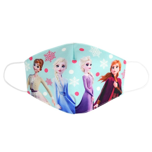 2020 Adult Kids Cotton Elsa Anna Masks Cartoon Print Boys Girls Dustproof Earloop Anti-dust Anti-Pollution Face Mouth Mask 3