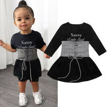 New Style 2pcs Set Girls Kids Baby Long Sleeve Dress + Vest Casual Clothes With Strap Waist Seal 1-6 Years(China)