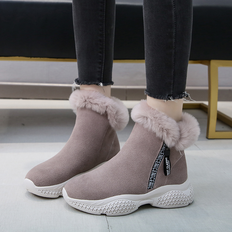 Winter Women Boots Suede Platform Sneakers Warm Plush Ankle Snow Boots Fashion Zipper Sport Running Shoes Solid Winter Shoes 31