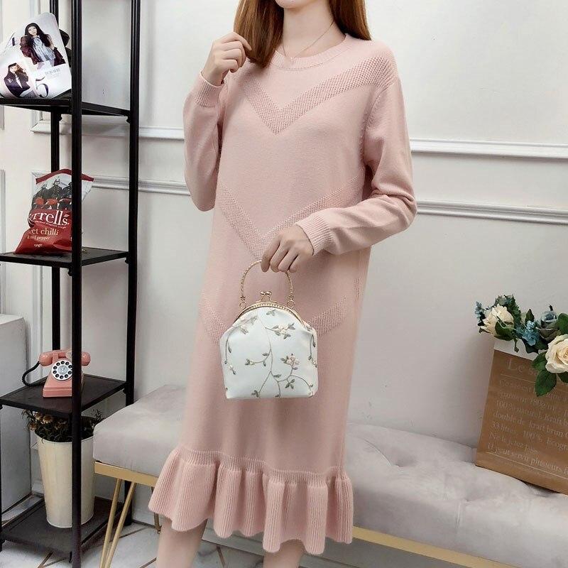 Automne hiver décontracté solide Oversize robe de base o-cou robe à tricoter Vintage à manches longues lâche robe mi-longue