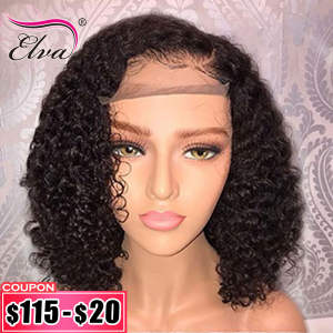 Wigs Short Curly Human-Hair-Wigs Hair-Bob Lace-Front Pre-Plucked Elva Baby Black Women