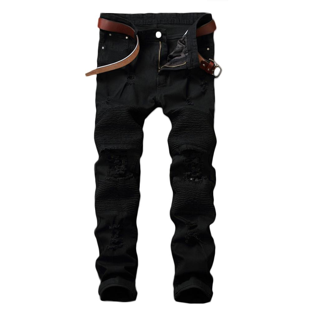 Fashion 2019 Men Jeans Men S-lim Fit Ripped Hole Jeans Solid Color Skinny Straight Trousers Pants Black For Men Trousers Pants