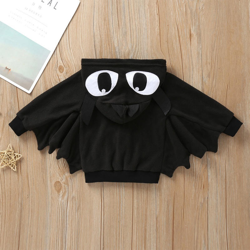 Baby Halloween Clothing Autumn Cartoon Print Bat Hooded Jacket Boy Girl Cotton Cosplay Clothes 2