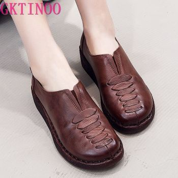 GKTINOO Spring Ladies Genuine Leather Handmade Shoes Women Retro Flat 2020 Autumn Soft Loafers Flats - discount item  53% OFF Women's Shoes
