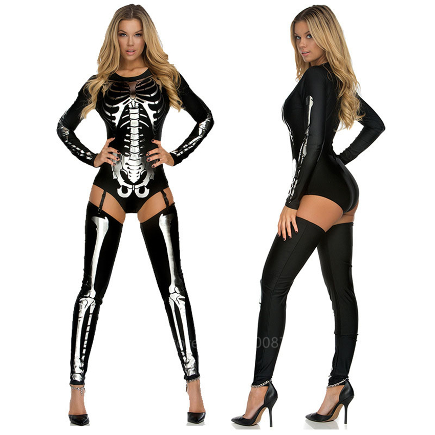 Skeleton Scary Costume Women Day of The Skull Dead Halloween Dress Carnival Party Fancy Jumpsuit Vampire Cosplay Carnival Party