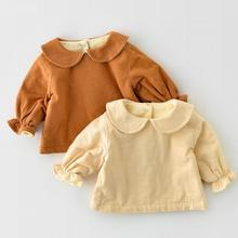 Shirts Blouse Baby-Girl Cotton Tops Collar Thick-Doll Velvet Long-Sleeve Warm Boys Winter