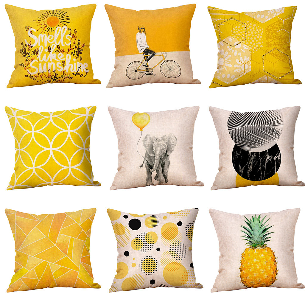 mustard pillow case yellow geometric fall autumn cushion cover cojines cushion decorative pillow cover kussenhoes pillowcases
