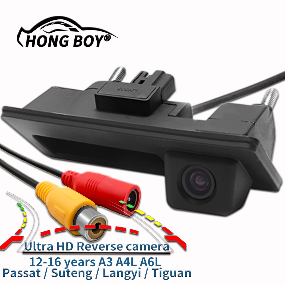 Free shipping HD camera with dynamic guide line Passat Golf Sagitar A4 A6 HD 1280   720P car trunk HD CCD reversing camera