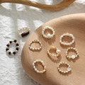AOMU Vintage Neue Elegante Koreanische Retro Natürliche Perle Shell Holz Perlen Ring Fashion Party Finger Ring Schmuck für Frauen Geschenk