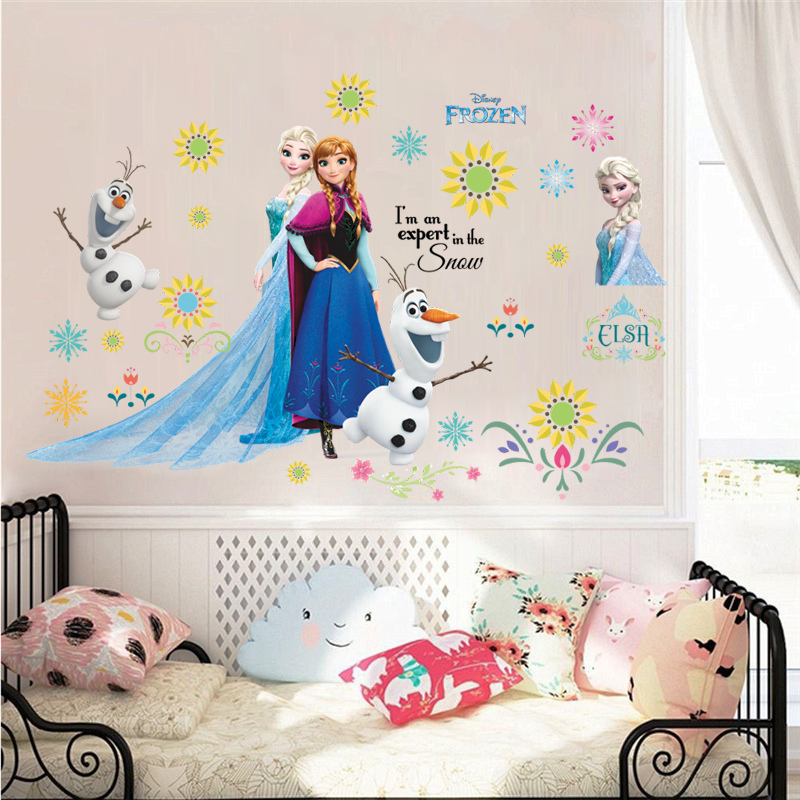 Cartoon Olaf Elsa Anna Princess Wall Stickers For Kids Room Home Decoration Diy Girls Decals Anime Mural Art Frozen Movie Poster