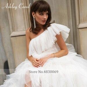 Image 5 - Ashley Carol One Shoulder Wedding Dresses 2020 Vestido De Noiva Tiered Ruffles Tulle Sleeveles Bride Beach A Line Bridal Gowns