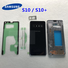 For Samsung Galaxy S10 Plus G975 G975F G973 G973F Full Housing S10+ Battery Cover Front Middle Frame metal Bezel Back Glass Cove