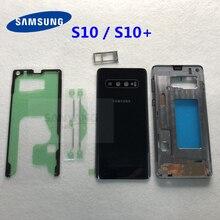 Samsung Galaxy S10 artı G975 G975F G973 G973F tam konut S10 + pil kapağı ön orta çerçeve metal çerçeve arka cam kapak