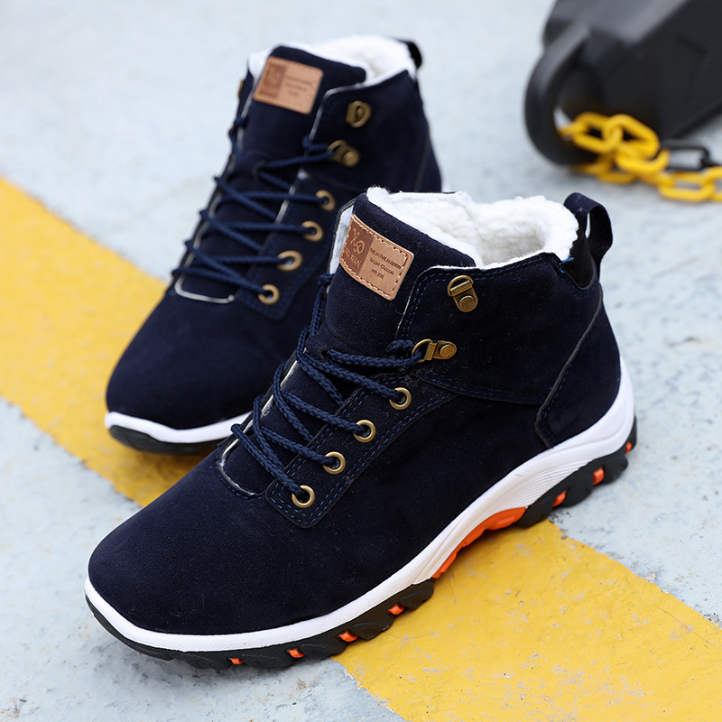 Men Snow Boots Winter Cotton Shoes with fur Lace-up Sneakers Warm Fleeces Ankle Boots High Flat Casual Shoes Solid Anti-skid