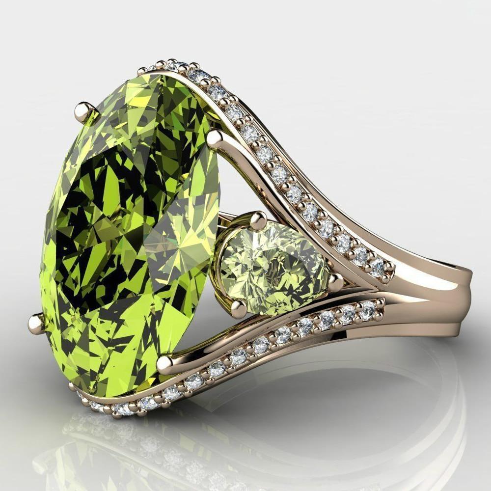 Women Ring Luxury Amazing Green Shiny White Zircon Ring Lady Engagement Beautifully Decorated Girlfriend Anniversary Gift