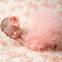 Милый реквизит для фотосъемки новорожденных принцесс костюм для младенцев наряд с повязкой на голову с цветком летнее платье для маленьких...
