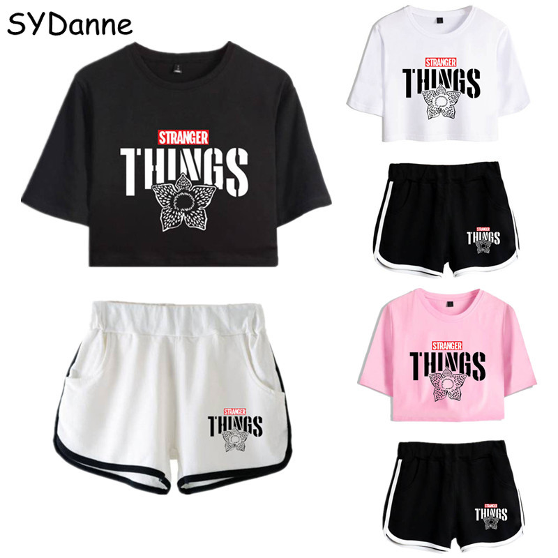 Stranger Things Sweatshirt Dustin Cosplay Summer Tshirt Shorts Sport Shorts Women Girls Nancy Wheeler Running T-shirt Suit Girl