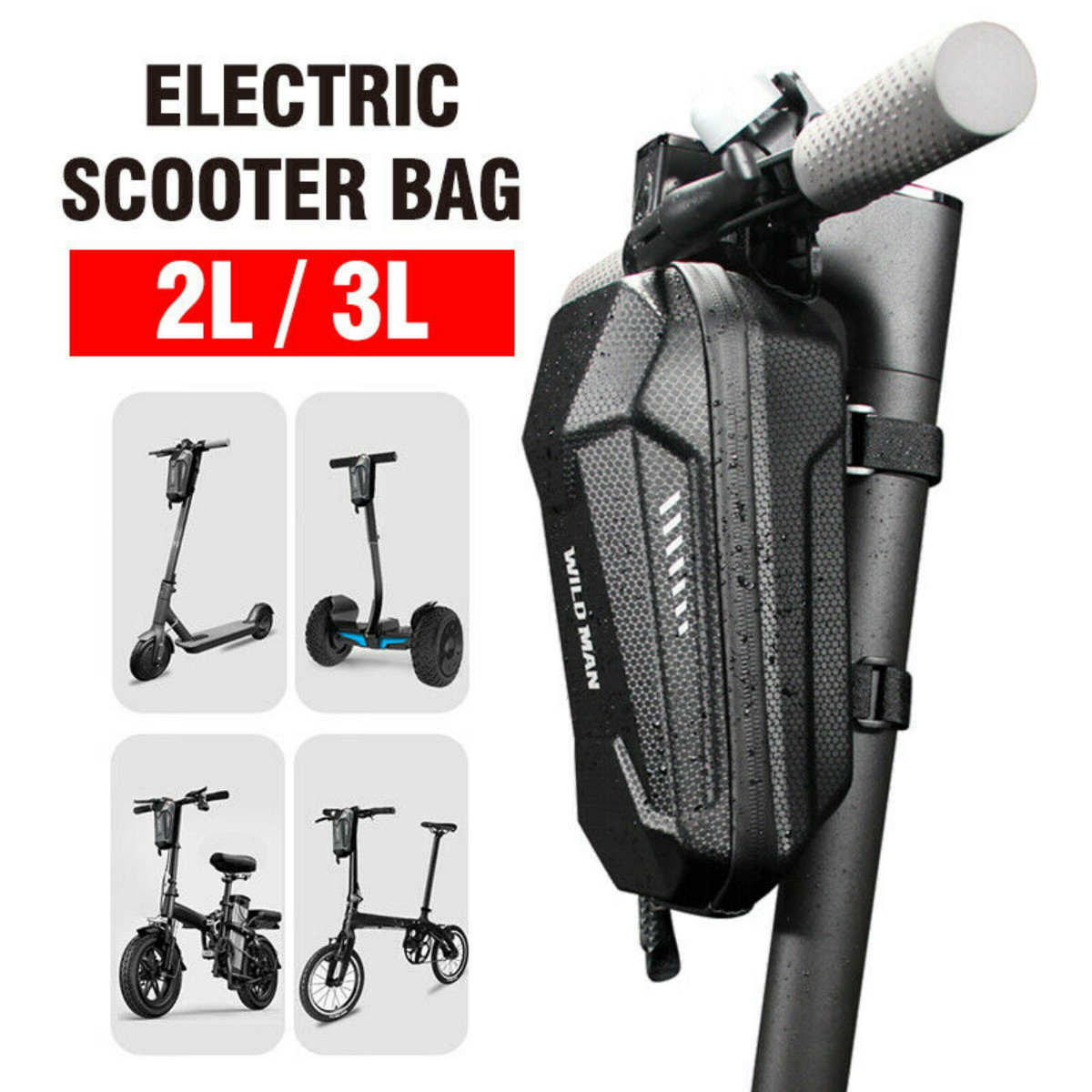 2L//3L Head Handle Front Storage Bag For Xiaomi Mijia M365 Electric Scooter Black