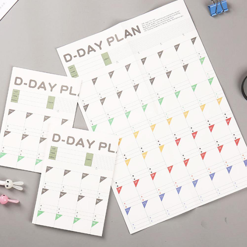 5pcs New 100 Day Countdown Calendar Learning Schedule Periodic Planner Table Gift For Kids Study Planning Learning Supplies