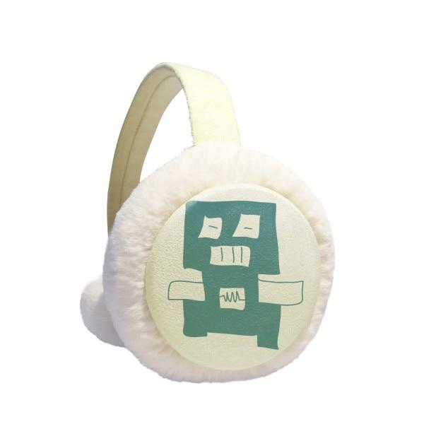 Universe And Alien Blue Robot Winter Earmuffs Ear Warmers Faux Fur Foldable Plush Outdoor Gift