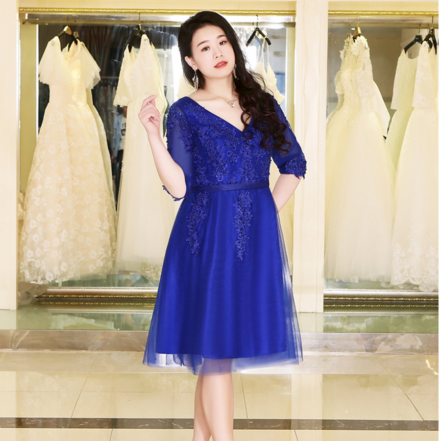 It's Yiiya Prom Dress V-Neck Half Sleeve Knee-Length A-Line Vestidos De Gala DX044 Crepe Plus Size Dresses Women Party Night