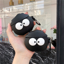 3D Cute Cartoon Black Coal Ball Lovely Penguin Headphone Cases For Airpods 1 2 Silicone Earphone Protective Cover with Keychain