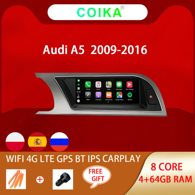 """8.8"""" Octa Core Car IPS Touch Screen Radio For Audi A5 2009 2016 WIFI SWC BT Music Android 10 System 4G Carplay 4+64G Multimedia"""