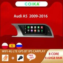 "8,8 ""Octa Core coche Pantalla táctil IPS Radio para Audi A5 2009 2016 WIFI SWC BT, música Android 10 sistema 4G Carplay 4 + 64G Multimedia"