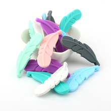 KEEP&GROW 300Pcs Feather Silicone Beads Food Grade Silicone Teethers Baby Teethi