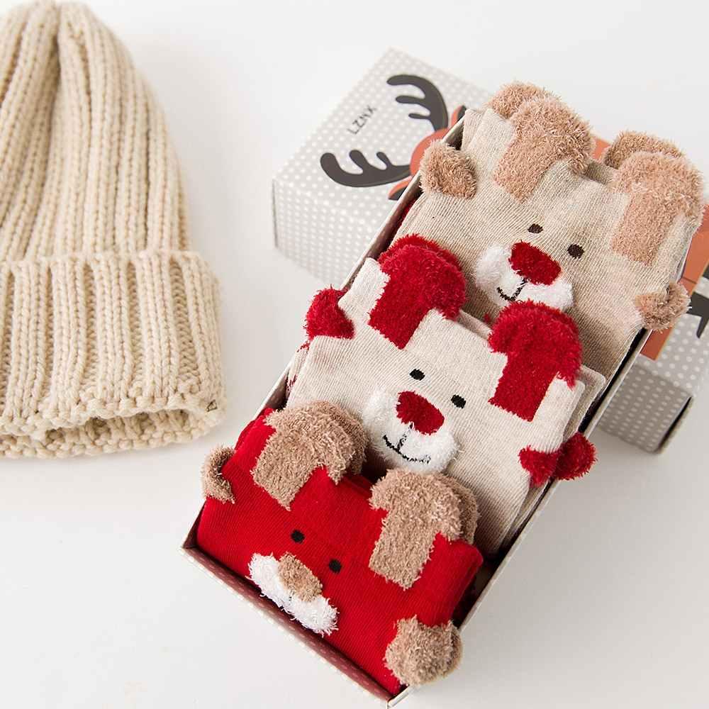Рождественские чулки для девочек, женские милые носки из бархата кораллового цвета с забавным рисунком, вечерние носки на осень и зиму 2020, дамские носки без пятки