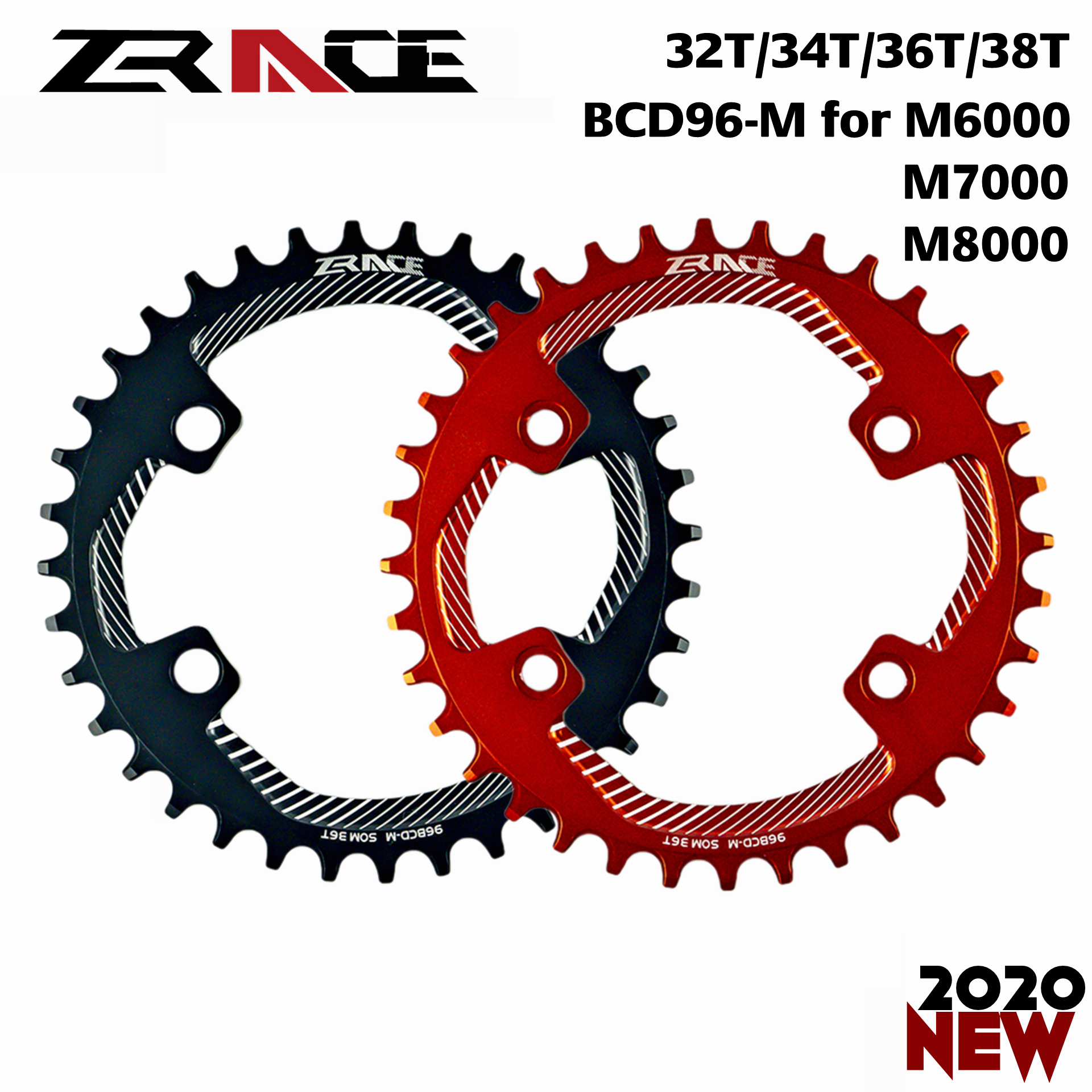 2020 ZRACE Chainrings Chainwheels BCD96-M For M8000 M7000 M6000,32T 34T 36T 38T AL7075 CNC Process, Vickers-hardness 15+ For MTB
