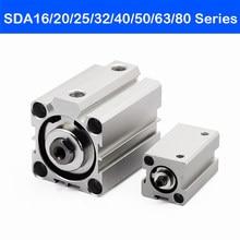 Luft Zylinder Doppel SDA16/20/25/32/40/50/63/80mm Boreseries pneumatische Compact 5 10 15 20 25 30 35 40 45 50mm Hub