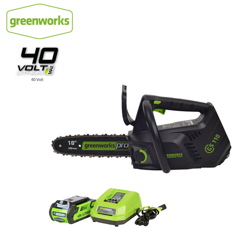 Greenworks 40v Cordless Chain Saw Brushless ONE HAND Operate Chainsaw 10 Inch Guide Bar With 4Ah Battery And Charger,Free Return