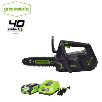 Greenworks 40v akumulatorowa piła łańcuchowa bezszczotkowa z jedną ręką obsługa piły łańcuchowej 10 Cal profil z 4Ah akumulator i ładowarka, bezpłatny zwrot