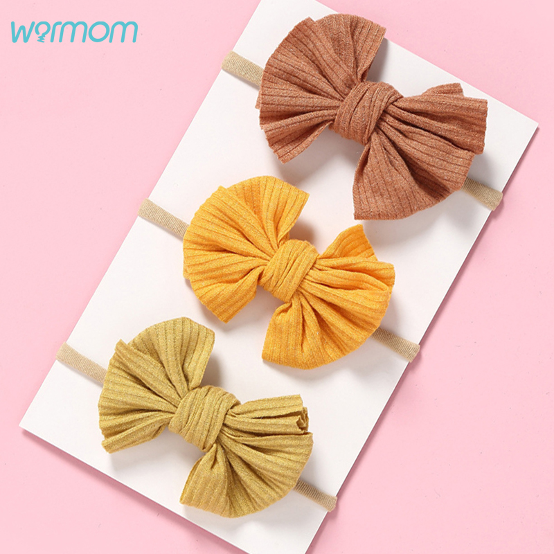 Warmom Baby Girls Bowknot Nylon Headband Newborn Elastic Candy Color Headwear Accessories Hair Ring Child Kids Hair Band Gift
