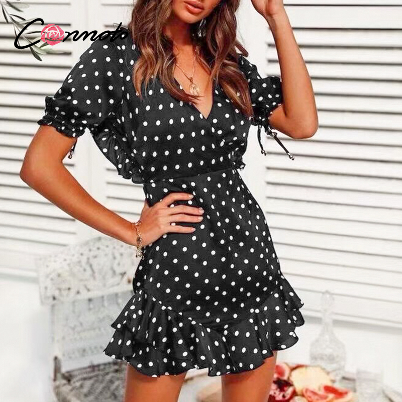 Conmoto Backless Sexy Ruffles Vintage Polka Dot Dresses Women Retro Robe Ruffles Mini Dress Beach Summer 2020 Puff Dress Vestido