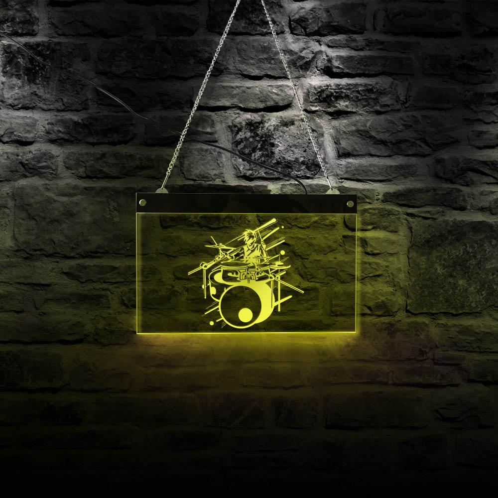 Rock Music Drum Band Multi-color LED Lighting Wall Art Music Studio Rectangle Light Board Drummer Musician Neon Lamp Sign image