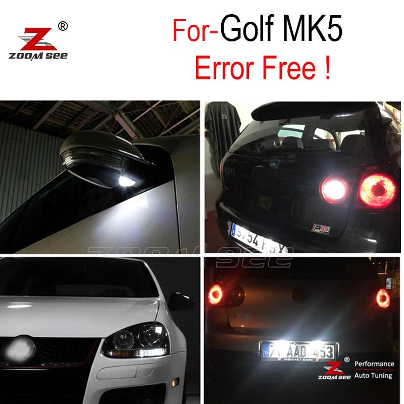 화이트 리버스 전구 + 미러 + 라이센스 플레이트 VW 골프 5 MK5 MK V LED 외관 + 주차 라이트 키트 (06-09)