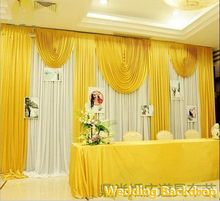 3X6M 10ftx20ft yellow color Wedding Backdrop Swags Hot Sale Ice Silk Backdround Drape Curtain Party Wedding Decoration(China)
