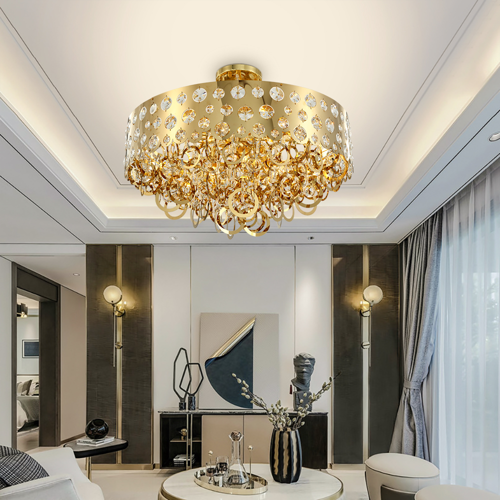 Gold Crown Led Chandeliers Crystal