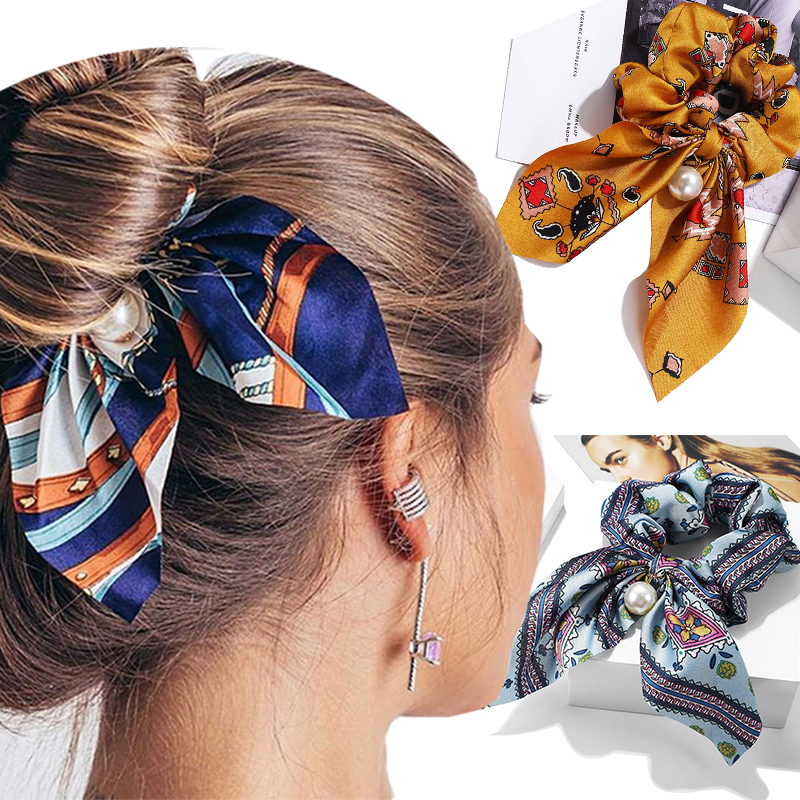 2019 NEW Chiffon Bowknot Silk Hair Accessories For Women Pearl Ponytail Holder Hair Scrunchi Accessories Rope Rubber Bands Hair