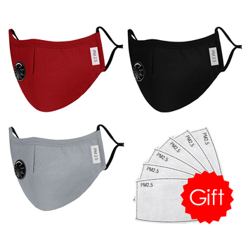 High Quality 3pcs Unisex Cotton Breath Valve Face Mouth Mask Cloth Activated Carbon Filter Respirator For Men Women 4 Colors 9